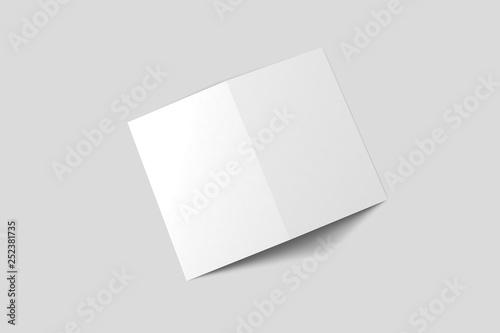 Bi fold Brochure Magazine Mock-up isolated on white