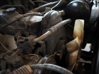 Close up details of car engine. Selective focus and shollow of field.
