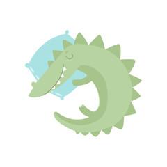 Cute Crocodile Reptile Animal Sleeping on Pillow Vector Illustration