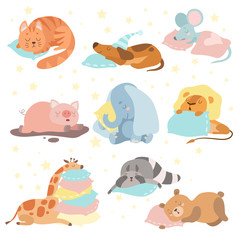 Cute Animals Sleeping Set, Cat, Dog, Mouse, Pig, Elephant, Lion, Giraffe, Raccoon, Bear Lying on Pillows Vector Illustration
