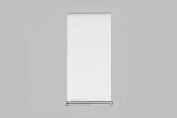 Blank Roll up Banner mock up on gray background. 3D rendering
