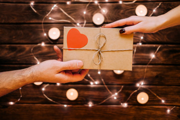 Male gives a gift to female. Happiness  concepts ideas.