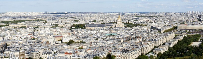 Panorama picture overview of the sea of ​​houses of Paris, urban life in a narrow space, view to the direktion louvre