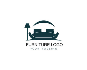 Furniture sofa logo design icon template. Home decor interior design vector illustration