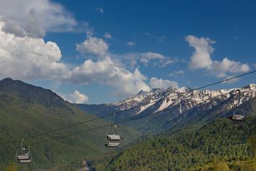 panorama view on the mountains in Krasnaya Polyana, Sochi.