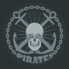 Skull with anchors rays and text on a dark background.