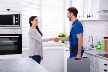 Plumber Shaking Hands With Woman