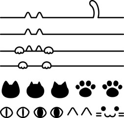 猫モチーフのライン、アイコンのセット