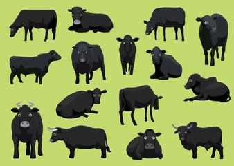 Various Black Cow Bull Cartoon Vector Illustration