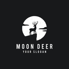 Deer on the full moon background in grunge style. For a dark background. - Vector