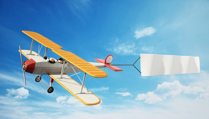 Classic airplane pulling blank white text banner. 3D illustration