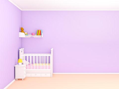 baby's bedroom empty wall flat
