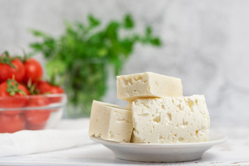 Large pieces of feta cheese in white plate and cherry tomatoes on light background. Selective focus, High key