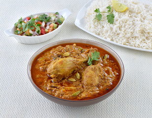 White rice with chicken curry