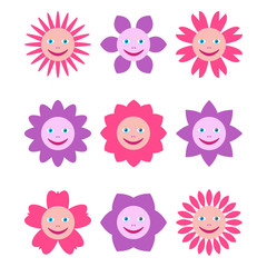 Set of different flowers with human smiling faces. Multicolored illustrations in cartoon style isolated on white background.
