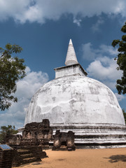 white stupa at Polonnaruwa