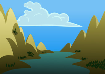 A landscape of a river in the middle of two big mountains. Vector Illustration.