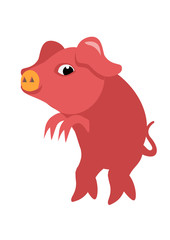 A funny pink pig stealthily walking. Vector illustration