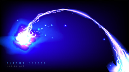 Illustration of plasma beam effect in art brush style. It is suitable for being used as a background or template in science or technology related theme such as: plasma, curvy light, electricity, etc.