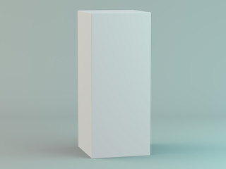 Blank vertical box on white background with reflection. 3D