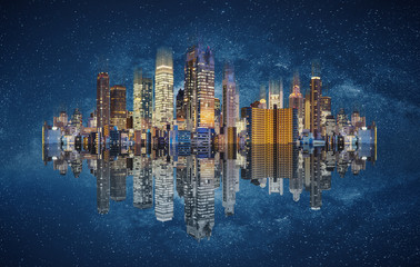 Modern buildings technology. Abstract cityscape with reflection and starry background Wall mural