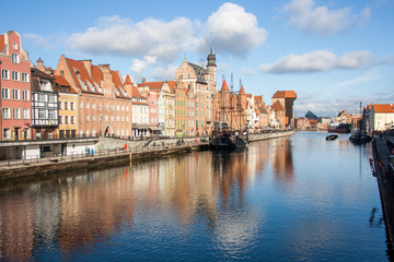 Gdansk Old Town Embankment in the sunny day