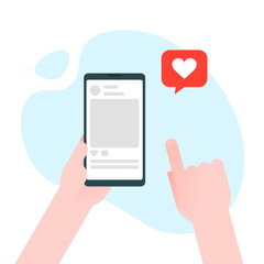 Hand holding smartphone with heart emoji message on screen, like button. Love confession, like. Social network and mobile device. Graphics for websites, web banners. Flat design vector illustration
