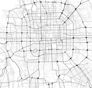 Vector city map of Beijing in black and white
