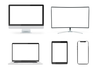 Pack of modern device mockup isolated on white 3d rendering