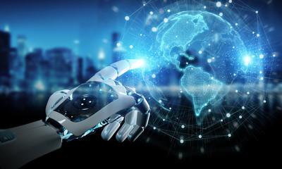 Intelligent robot cyborg using digital globe interface 3D rendering