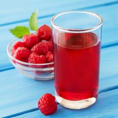 Raspberry juice and fresh berries