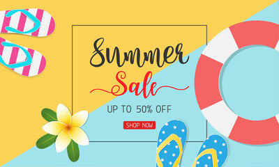 Summer sale concept for discount promotion. Sandals, swim tube, Plumeria flower on colorful background