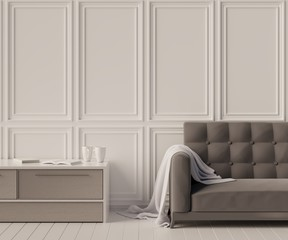 Home interior with sofa and table. 3D rendering.
