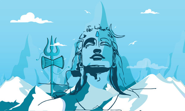 Illustration Of Happy Maha Shivratri Greeting Card Design. - Vector