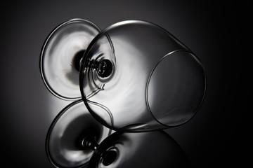 Empty glass for cognac.  Snifter glass
