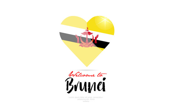 Welcome to Brunei country flag inside love heart creative logo design