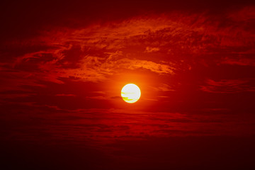 Big sun, Sunset sky background
