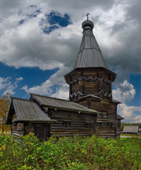 Russia. Karelia. Ancient Orthodox Church on the shore of lake Ladoga, built of wood without a single nail