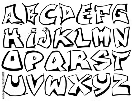 English alphabet vector from A to Z in graffiti black and
