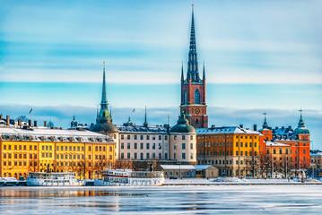 Tuinposter Stockholm Stockholm Gamla Stan Winter Landscape