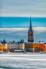 Deurstickers Stockholm Stockholm Gamla Stan Winter Scene