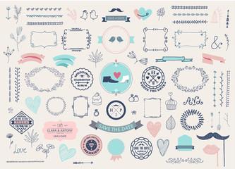 Vector Hand drawn doodle Love collection, illustration Sketchy icons. Big set for Valentine s day, Mothers day, wedding, love and romantic events. Frames, laurels, florals, vintage design