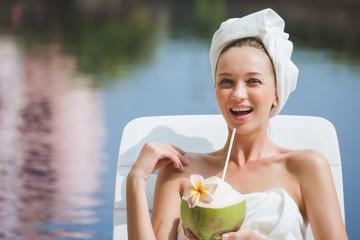Woman pool spa concept