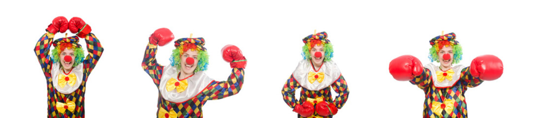 Clown with boxing gloves isolated on white Wall mural