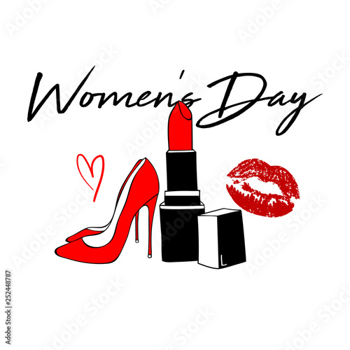 18172a58066 Happy Women's Day Design with Red kiss lips, red lipstick, Women's shoe.  Makeup Fashion style. International women's day card. Vector hand drawn  elements ...