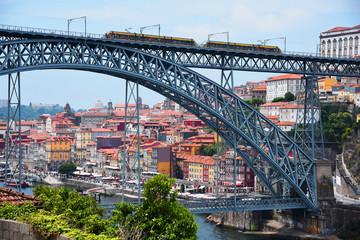 Porto, Portugal, Europe. Old Town, view of the Don Luis Bridge on the Douro River, a tourist spot.