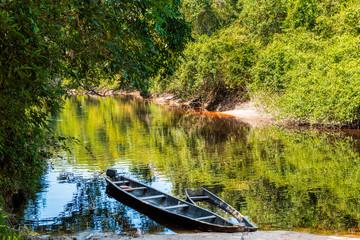 Boats anchored at the Yutaje harbor. Amazonas State, Venezuela
