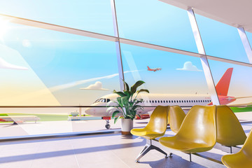 Cartoon airport terminal lounge with airplane on background. 3d illustration.