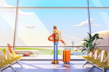 Cartoon character tourist in airport. 3d illustration. Man looking out the window at the plane flying away