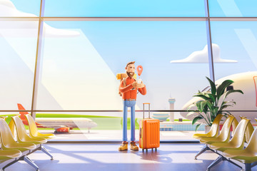Cartoon character tourist stands with a large map pointer and phone in his hands in airport. 3d illustration. The concept of mobile applications for travel.